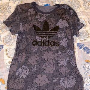 RARE grey floral Adidas Tee